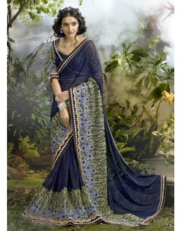 Blue Colour Lycra Net Designer Saree  - 16250