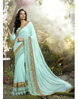 Festival Wear Blue Lycra Net Saree  - 16251