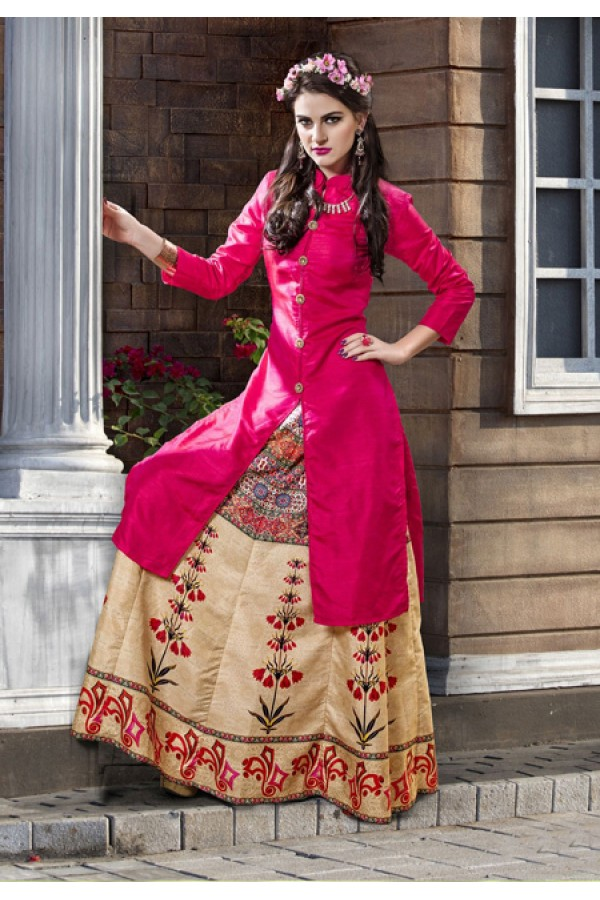 Festival Wear Readymade Pink Kurti With Skirt - 16260