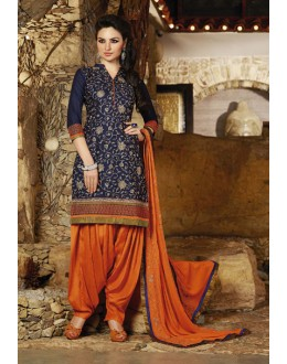 Office Wear Blue Cotton Patiyala Suit - 16315