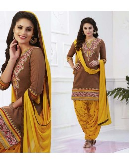 Festival Wear Brown Cotton Patiyala Suit - 16320