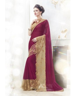 Moss Chiffon Purple Ethnic Saree  - 16338