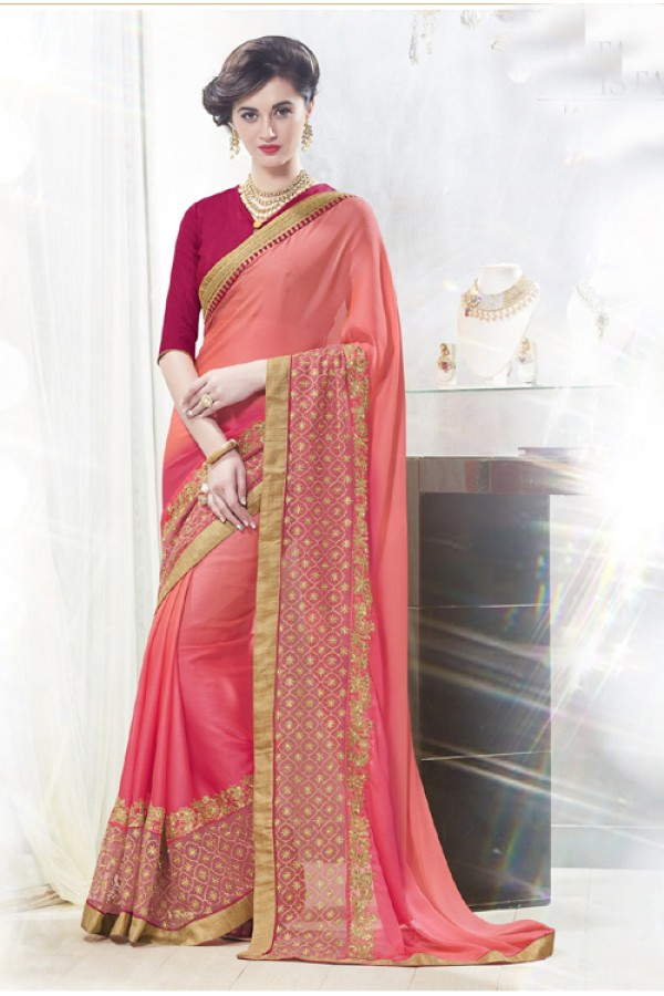 Ethnic Wear Pink 60 Grm Georgette Saree  - 16340