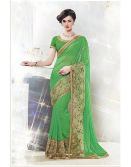 Ethnic Wear Green Embroidery Saree  - 16343