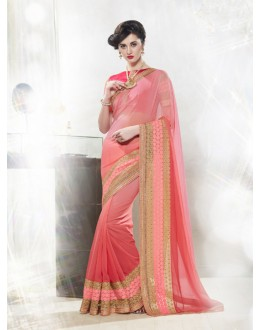 60 Gram Georgette Pink Saree  - 16344