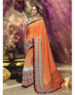 Ethnic Wear Orange Crepe Silk Saree  - 16378