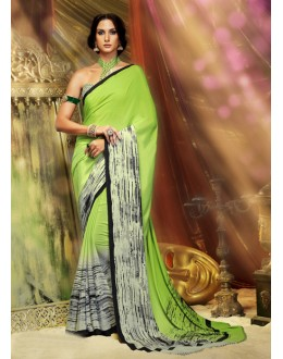 Green Colour Crepe Silk Printed Saree  - 16381