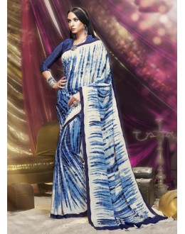 Crepe Silk Blue & White Printed Saree  - 16382
