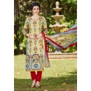 Party Wear Cream Cambric Cotton Salwar Suit - 16414