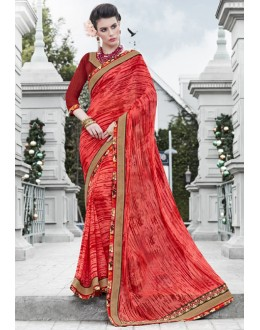 Ethnic Wear Orange Georgette Saree  - 16444