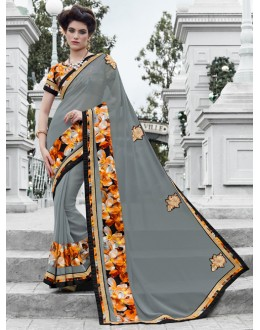 Party Wear Grey Georgette Saree  - 16447