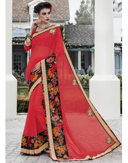 Ethnic Wear Red Georgette Saree  - 16449
