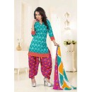Office Wear Sky Blue Poly Cotton Patiyala Suit - 16463