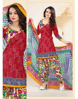 Office Wear Red Poly Cotton Patiyala Suit - 16466