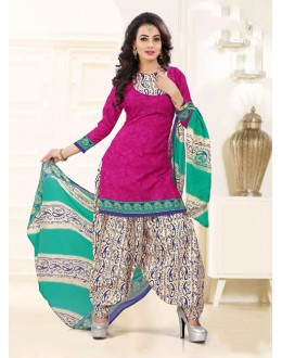 Poly Cotton Pink Ethnic Patiyala Suit - 16468