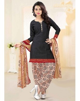 Casual Wear Black Cotton Patiyala Suit - 16471