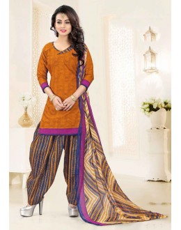 Casual Wear Brown Poly Cotton Patiyala Suit - 16472
