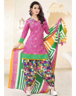 Office Wear Pink Poly Cotton Patiyala Suit - 16473