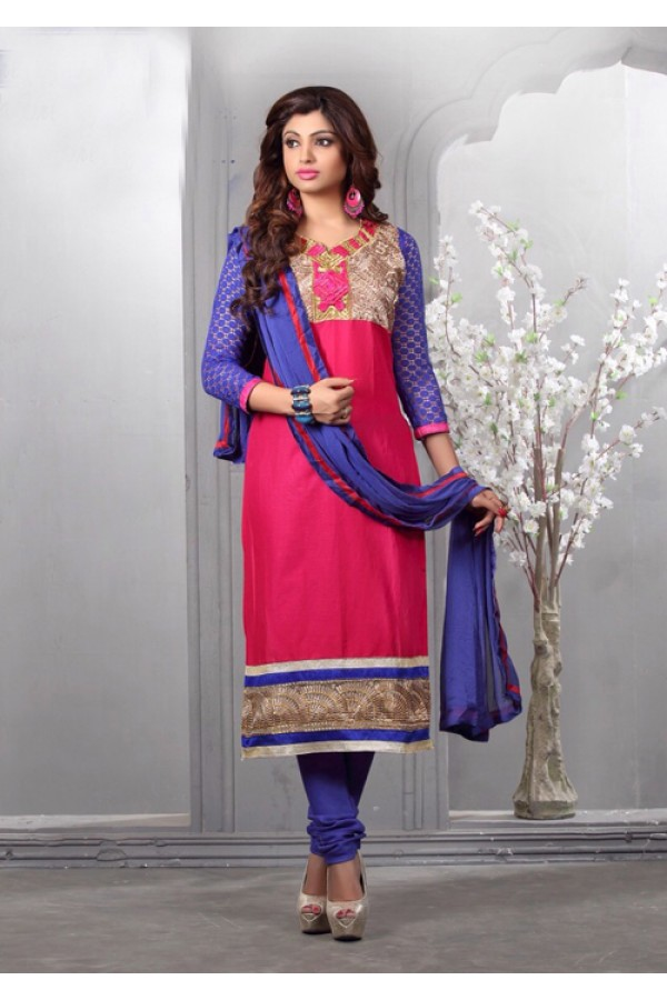 Glaze Cotton Pink Embroidery Salwar Suit - 16542