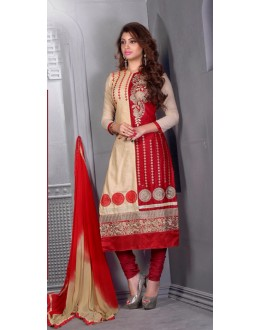 Beige & Red Glaze Cotton Embroidery Salwar Suit - 16545