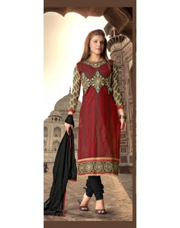 Festival Wear Red Cotton Salwar Suit - 16550