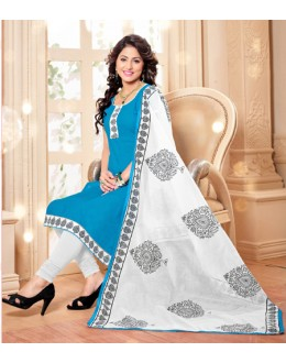 Office Wear Sky Blue Chanderi Salwar Suit - 16553