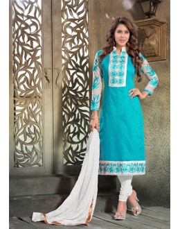 Festival Wear Sky Blue Chanderi Salwar Suit - 16554