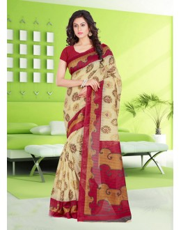 Beige Colour Bhagalpuri Printed Saree  - 16573