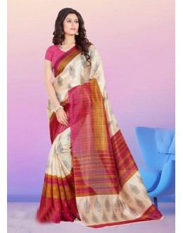 Ethnic Wear Beige Bhagalpuri Saree  - 16574