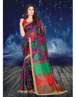 Bhagalpuri Multi-Colour Printed Saree  - 16577