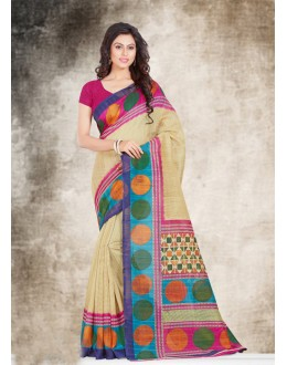 Ethnic Wear Beige Bhagalpuri Saree  - 16579