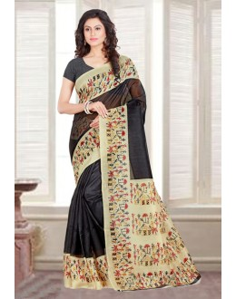 Ethnic Wear Black Bhagalpuri Saree  - 16585