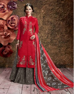 Ethnic Wear Red Glace Cotton Lehenga Suit  - 16596