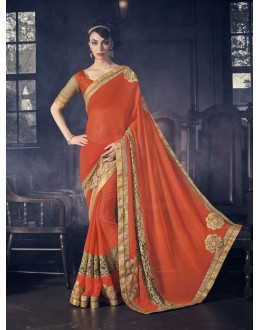 Orange Colour Georgette Ethnic Saree  - 16607