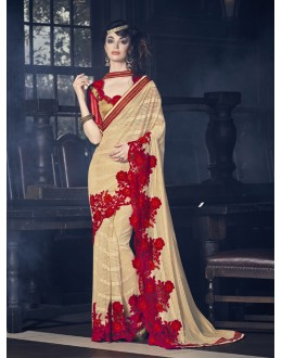 Festival Wear Light Brown Georgette Saree  - 16608