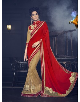 Red & Beige Fancy Half & Half Saree  - 16617