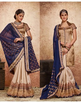 Party Wear Blue & Cream Embroidery Saree  - 16722