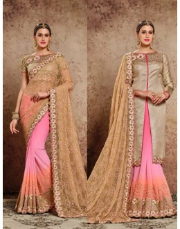 Party Wear Multi-Colour Embroidery Saree  - 16725
