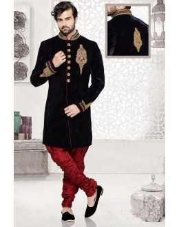 Wedding Wear Black Velvet Sherwani - 16727