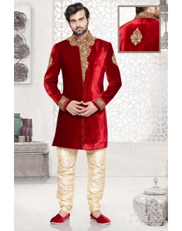 Wedding Wear Maroon Velvet Sherwani - 16728