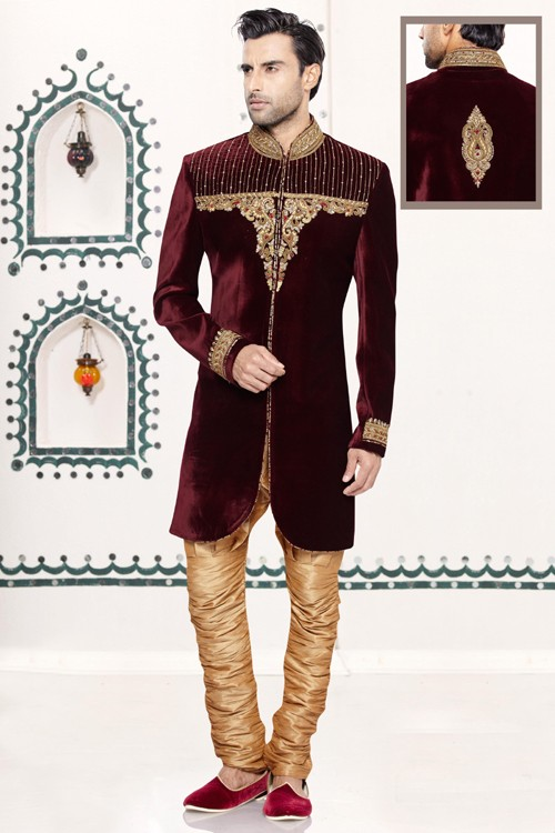 Wedding Wear Wine Velvet Sherwani - 16732