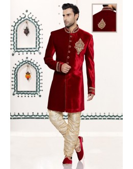 Wedding Wear Readymade Maroon Velvet Sherwani - 16733