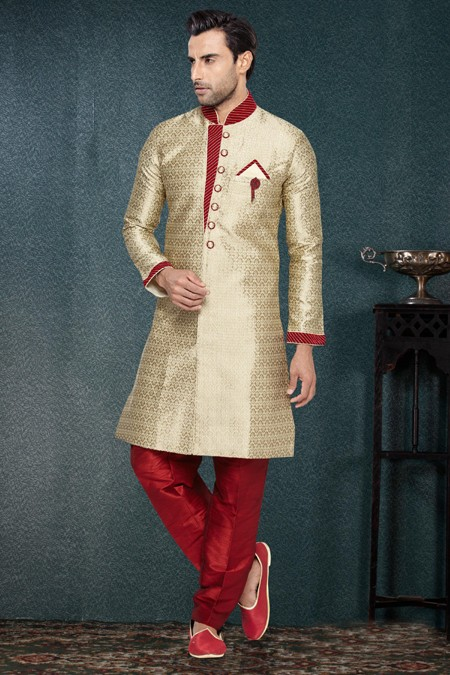 Readymade Gold Jacquard Art Silk Sherwani - 16735