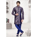 Festival Wear Blue Jacquard Art Silk Sherwani - 16736