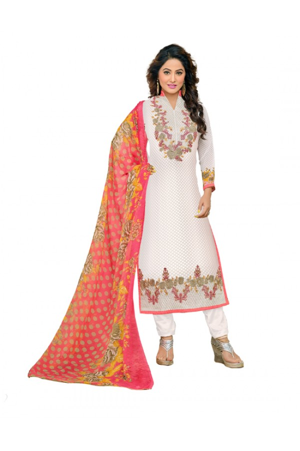 Hina Khan In White Georgette Salwar Suit  - 16741