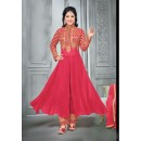 Hina Khan In Red Georgette Salwar Suit  - 16744