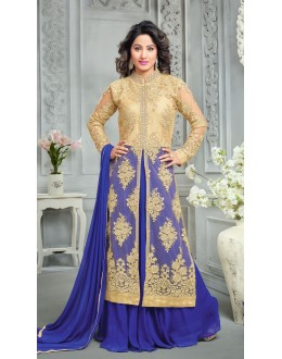 Hina Khan In Blue Net Lehenga Suit  - 16750