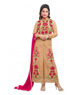 Hina Khan In Cream Georgette Salwar Suit  - 16751