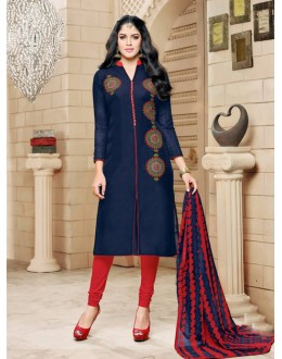 Office Wear Blue Chanderi Cotton Salwar Suit - 16755