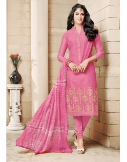 Light Pink Colour Chanderi Cotton Salwar Suit - 16756